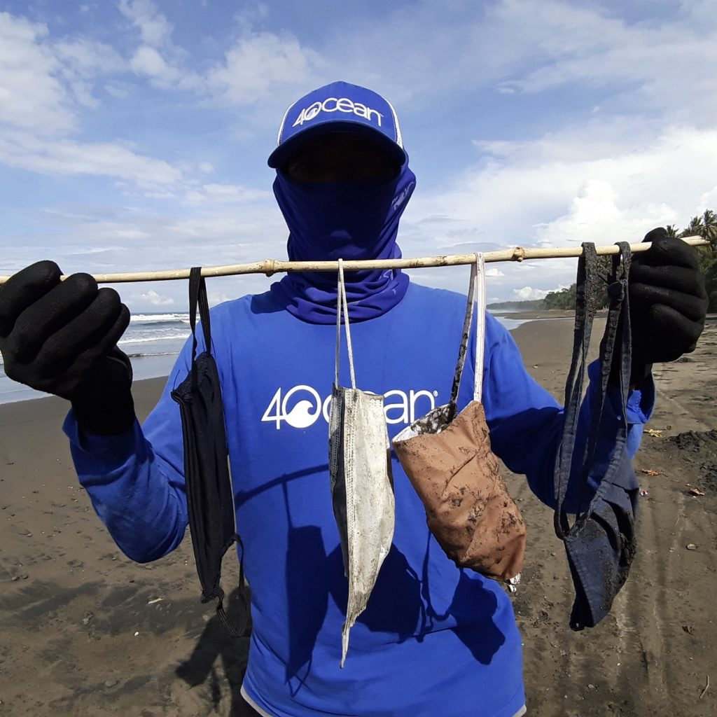 Face mask used as a protective gear for COVID-19 being found in the ocean