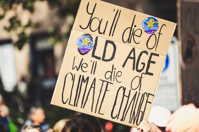 Human displaying a climate change placard