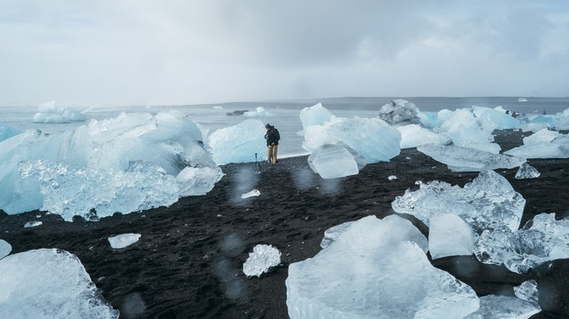 Human standing close to melting ice caps