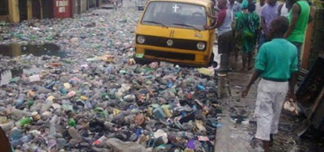 Road covered with waste