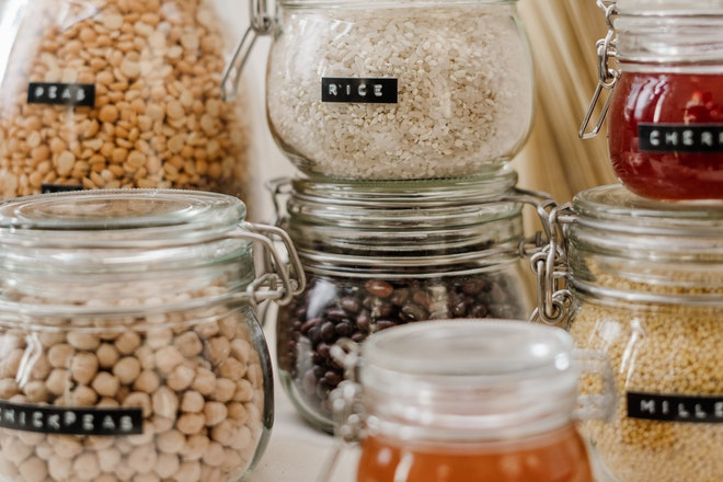 Foodstuff stored in airtight containers to reduce food waste.