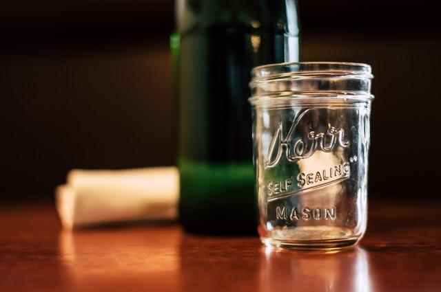 An empty glass jar.