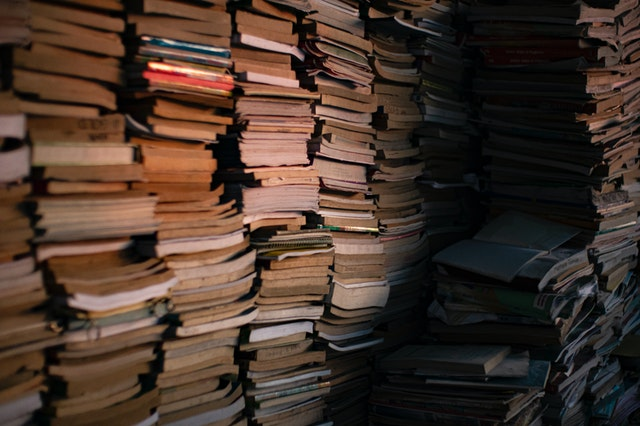Stack of old books. Old books can be used as an eco-friendly gift packaging