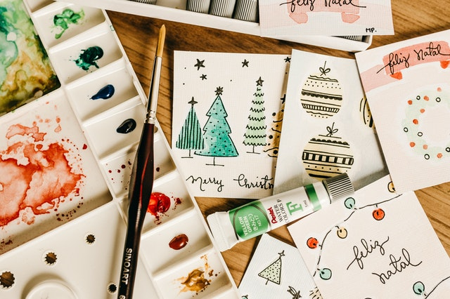 Making handmade eco-friendly Christmas cards as one of the eco-friendly tips for christmas