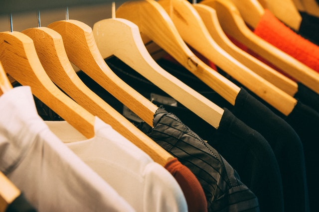 Clothes in a wooden hanger