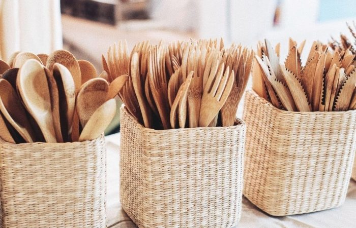 Bamboo cutlery set for Plastic Free July